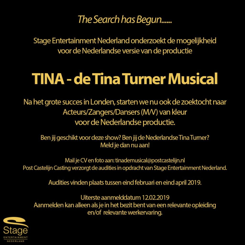 Stage Entertainment plaatst casting-oproep voor Tina Turner - de Musical